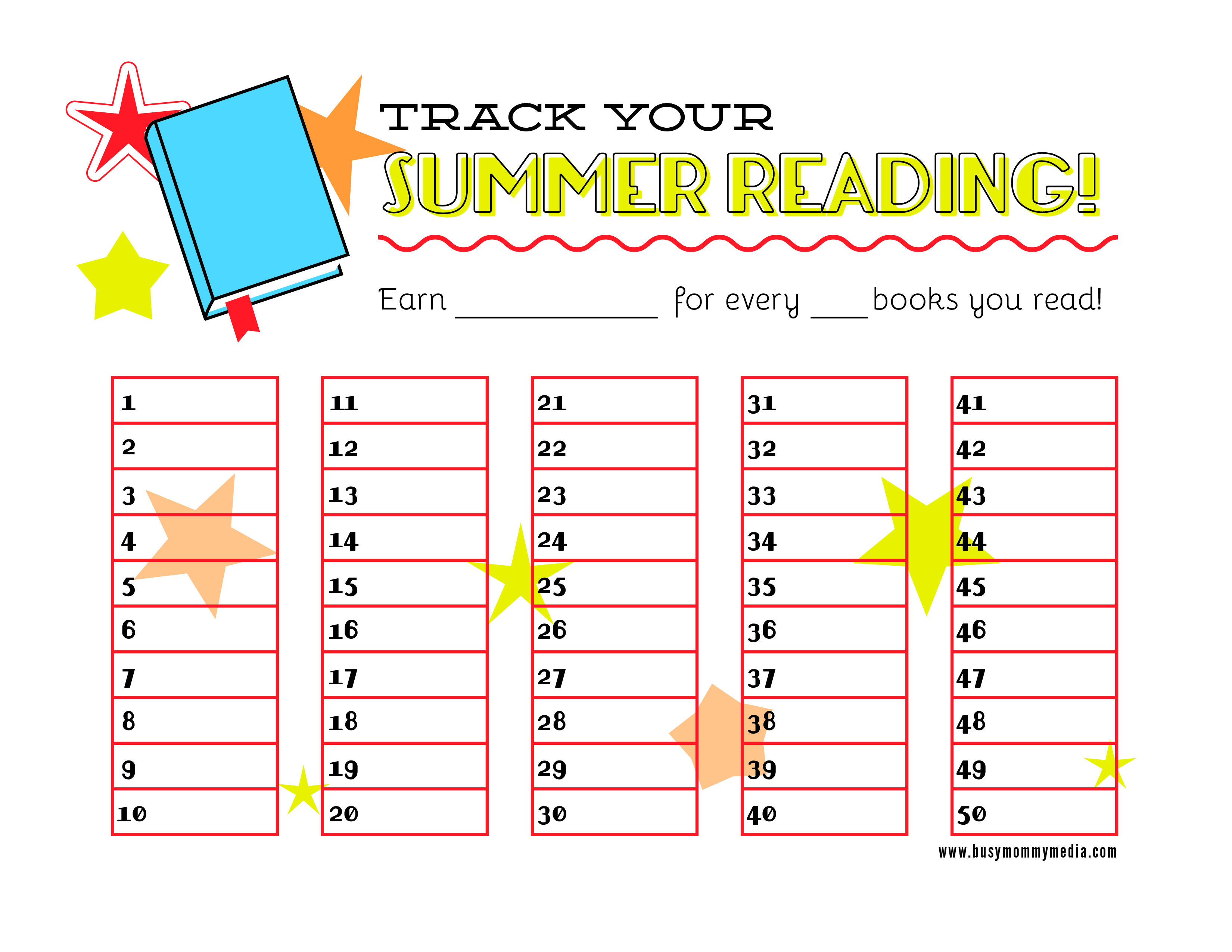 This is a picture of Reading Chart Printable inside summer