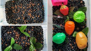 Sensory Bin Veggie Garden for Preschoolers